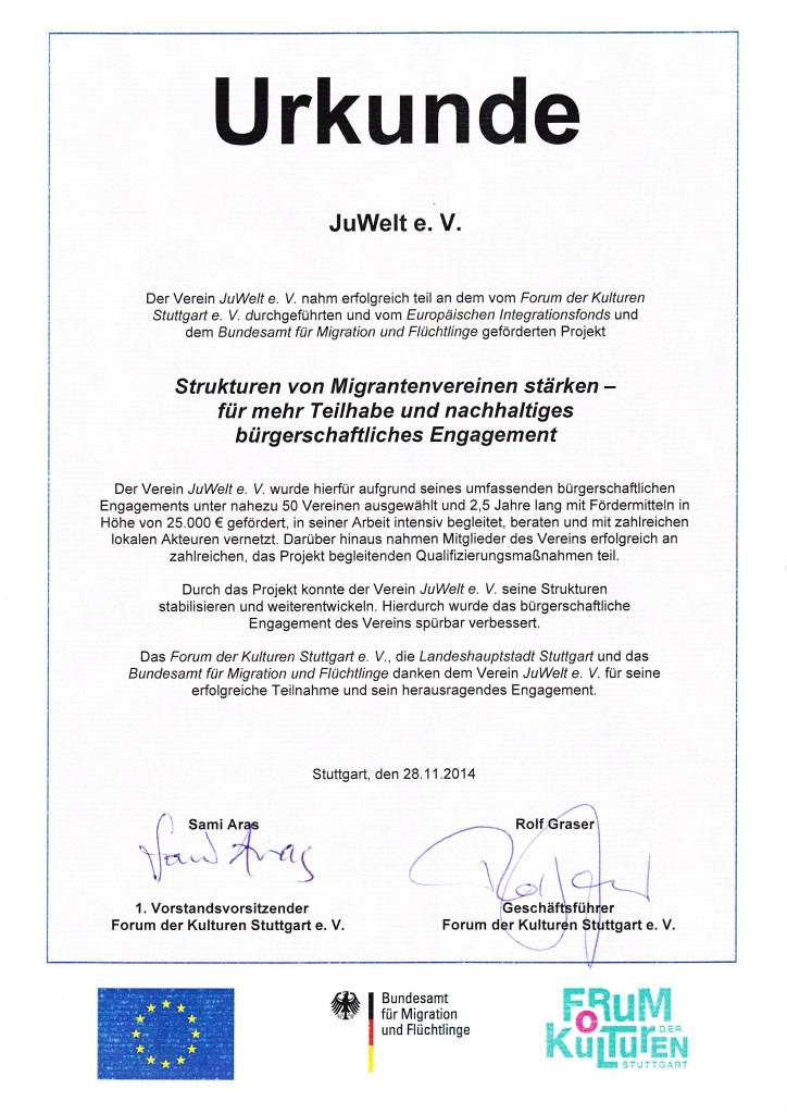 Urkunde JuWelt e V